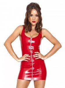 Honour Latex Fashion Silver Zip Dress