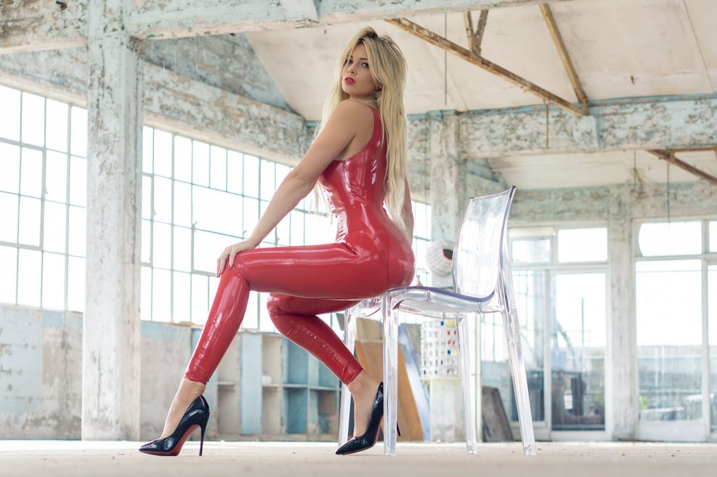 Affordable Latex Tanja Lace Up Catsuit
