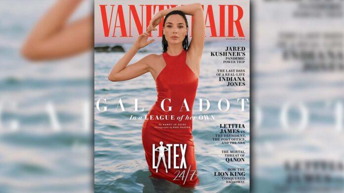 Gal Gadot wears Saint Laurent Latex Fashion Dress for Vanity Fair Cover November 2020