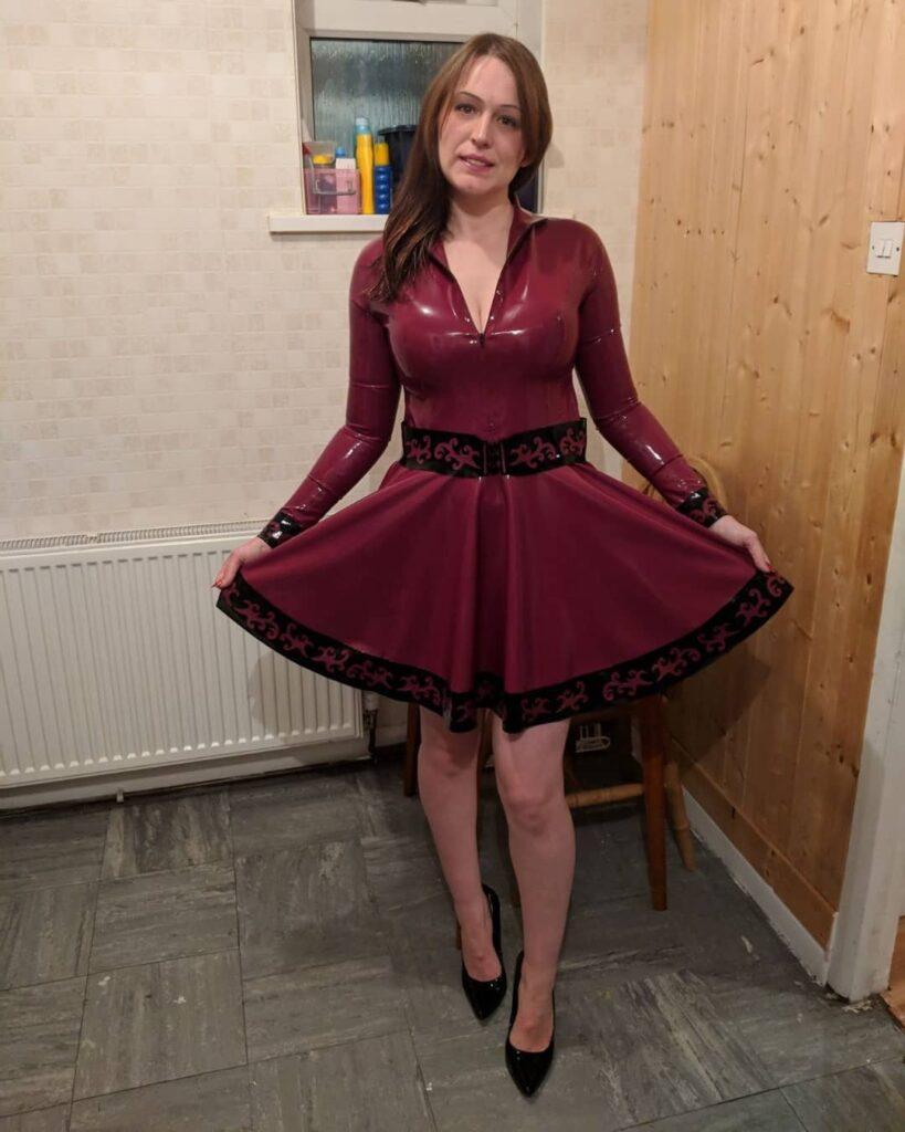 Latex Nikki wearing red Dirty Pretty Latex Dress