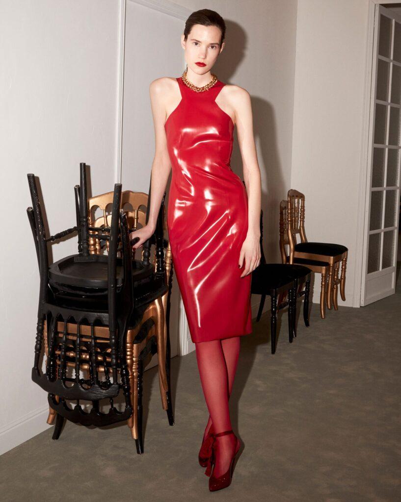 Saint Laurent Latex Fashion Winter Collection 2020 Racer Midi Dress
