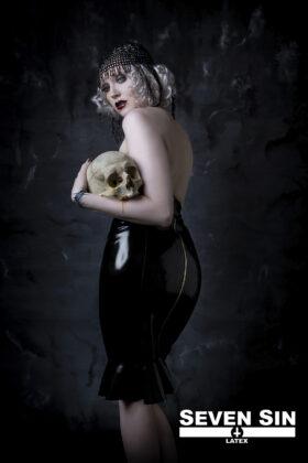 Seven Sin Latex Fashion Bullion Collection Athena Skirt Back