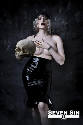 Seven Sin Latex Fashion Bullion Collection Athena Skirt Front