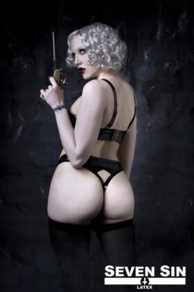 Seven Sin Latex Fashion Bullion Collection Bra Back