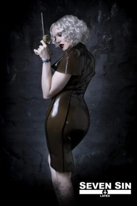 Seven Sin Latex Fashion Bullion Collection Natascha Dress Back
