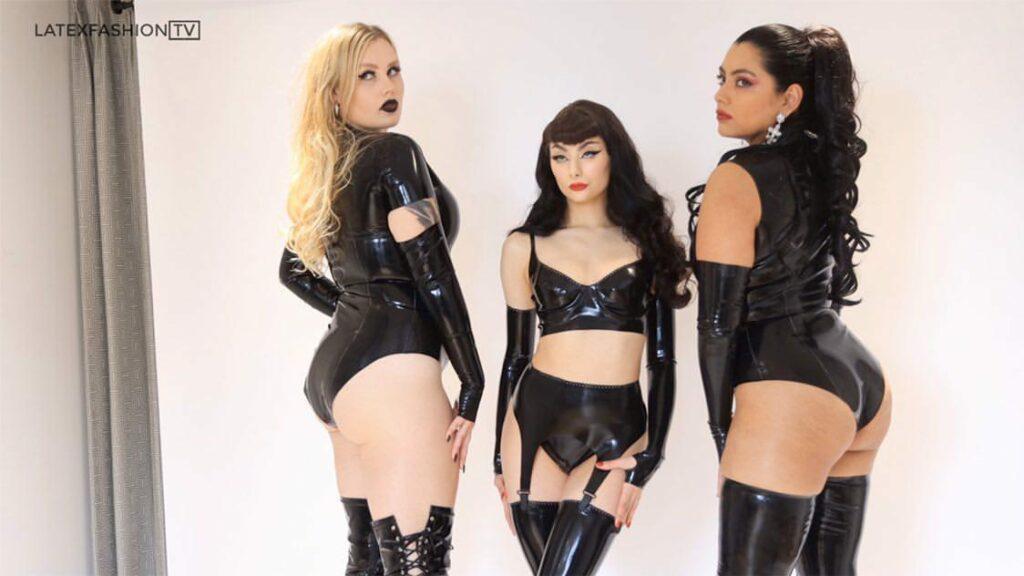 Models Gracie Gun, Sweet Severine and Latex Nai wear TlcLatex Fashion
