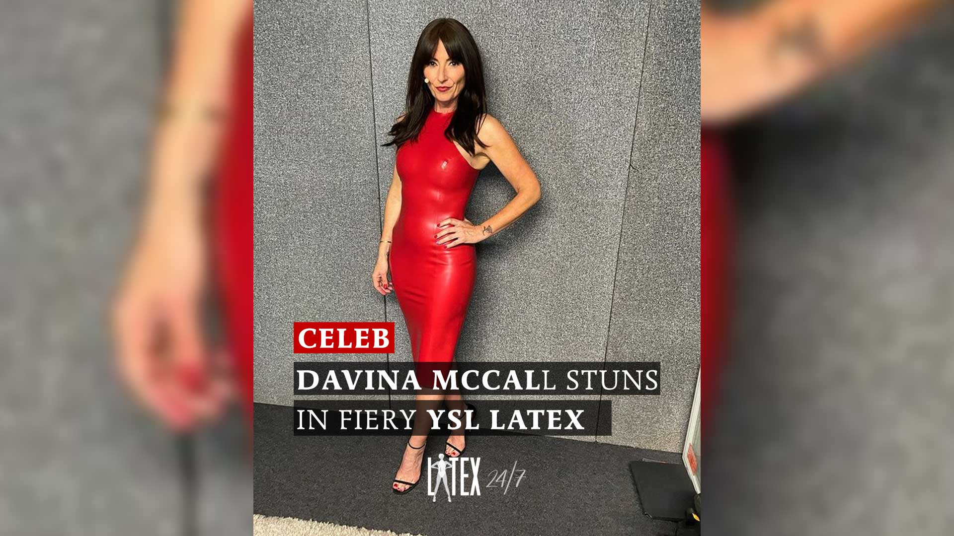 Davina McCall Stuns in Fiery Red YSL Latex Dress Latex Fashion Clothing