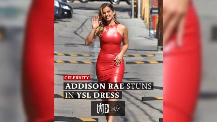Addison Rae stuns in YSL Red Latex Dress for Jimmy Kimmel Live talkshow